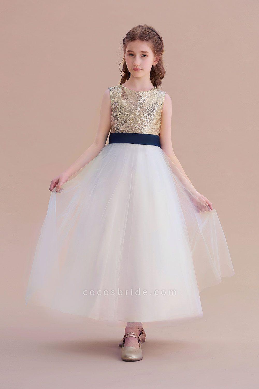 Bow Sequins Ankle Length A-line Flower Girl Dress