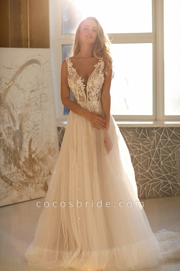 Amazing Appliques Tulle A-line Wedding Dress