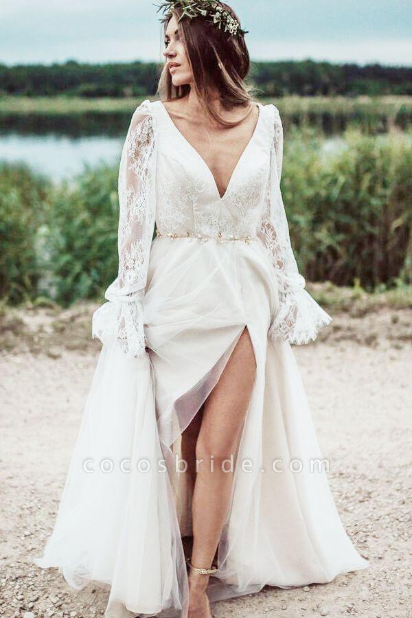 Front Slit Long Sleeve Lace Tulle Wedding Dress