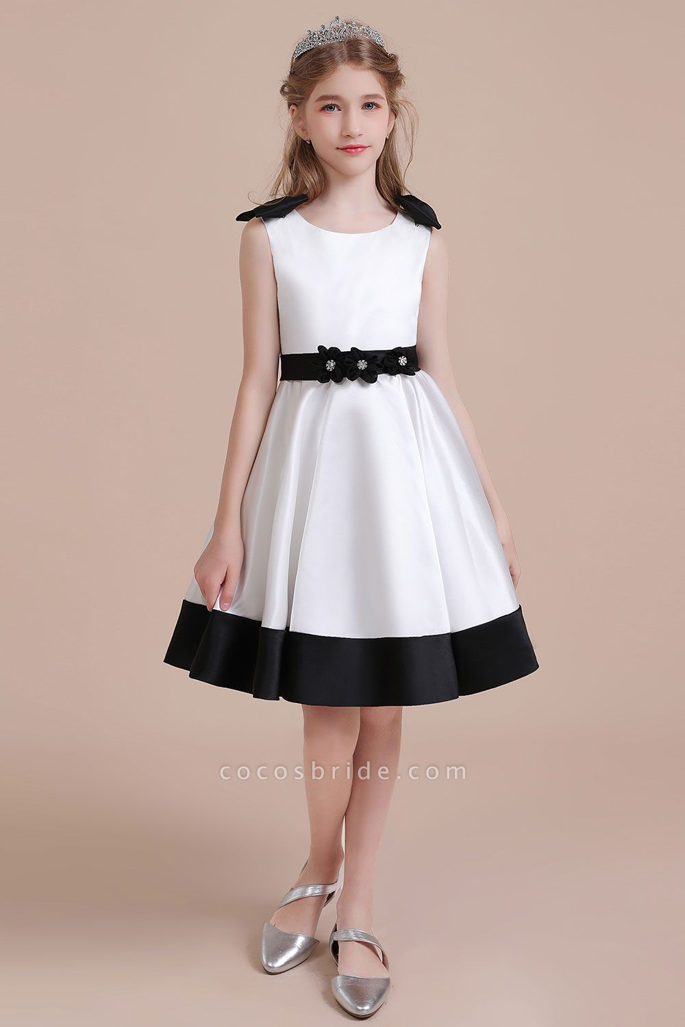 Latest Satin Knee Length Flower Girl Dress