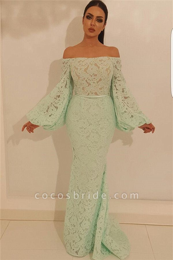 Latest Off-the-shoulder Lace Mermaid Prom Dress