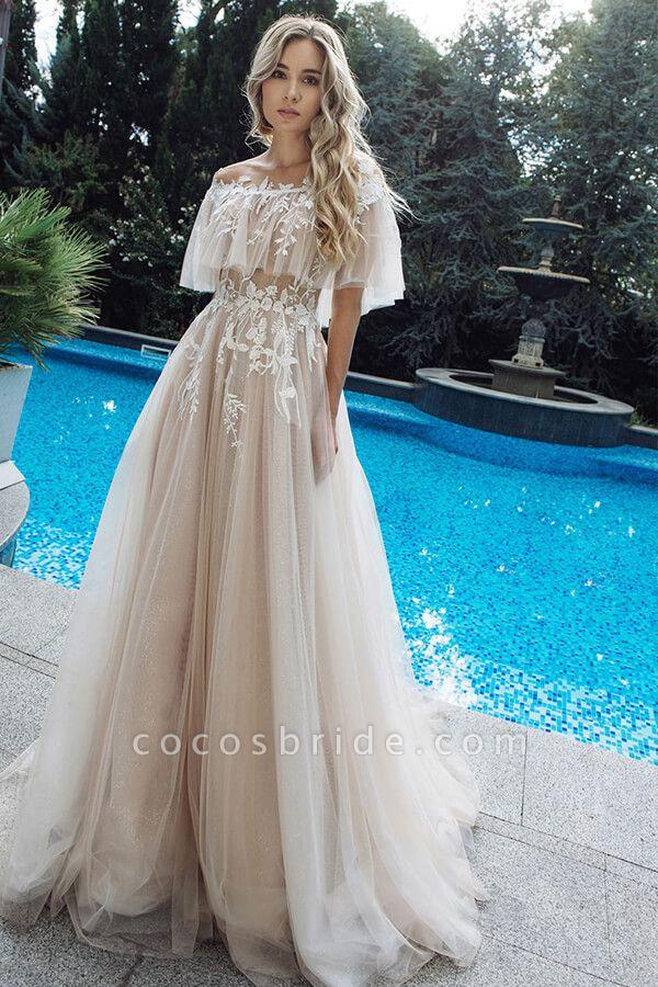 Appliques Off-the-shoulder A-line Wedding Dress