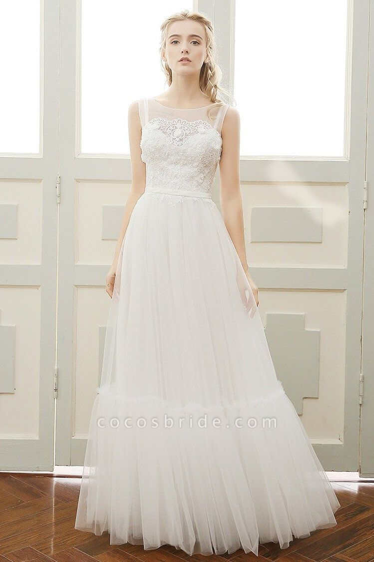 Affordable A-line Tulle Wedding Dress