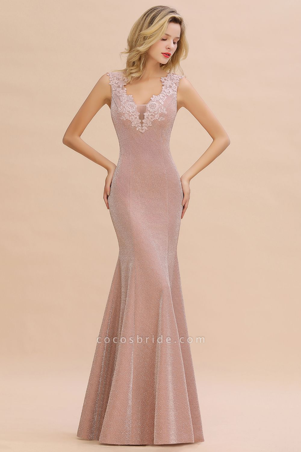 Fascinating V-neck Lace Mermaid Evening Dress