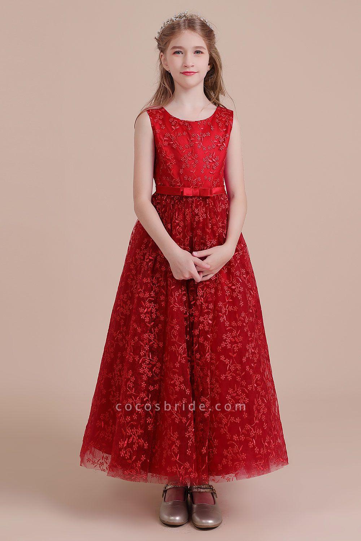 Elegant A-line Ankle Length Tulle Flower Girl Dress