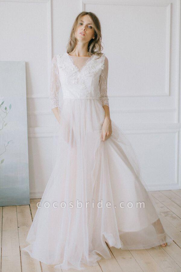 Elegant Lace Tulle A-line Sweep Train Wedding Dress