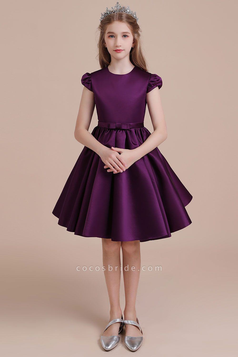 Graceful Cap Sleeve Satin A-line Flower Girl Dress