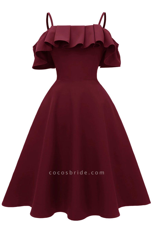 Sexy Spaghetti Straps Cascading Ruffles Vintage Dresses | Womens High quality princess Cocktail Dress