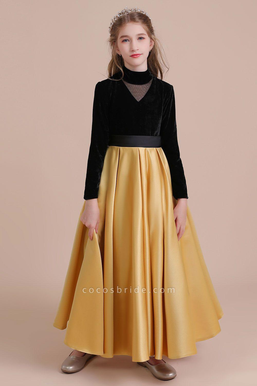 High-neck Velvet Satin A-line Flower Girl Dress