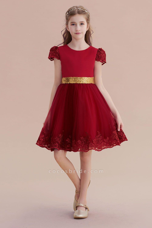 Cap Sleeve Bow Knee Length A-line Flower Girl Dress