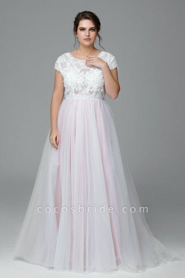 Plus Size Short Sleeve Lace Tulle Wedding Dress