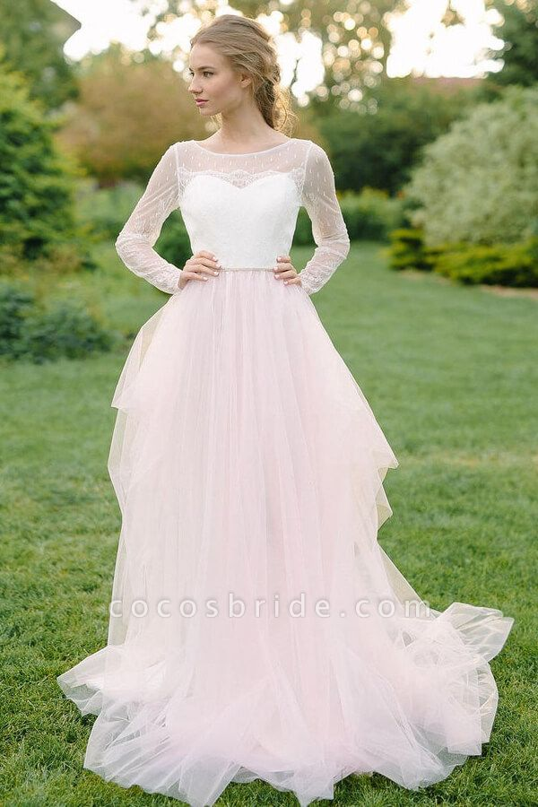 Chic Illusion Long Sleeve Lace Tulle Wedding Dress