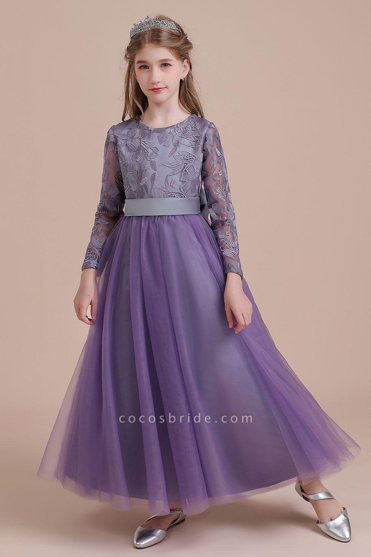 Long Sleeve A-line Ankle Length Flower Girl Dress
