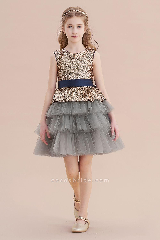 Sequins Tulle A-line Knee Length Flower Girl Dress