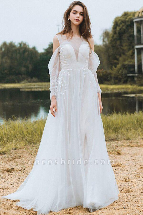 Chic Long Sleeve Cold-shoulder Tulle Wedding Dress