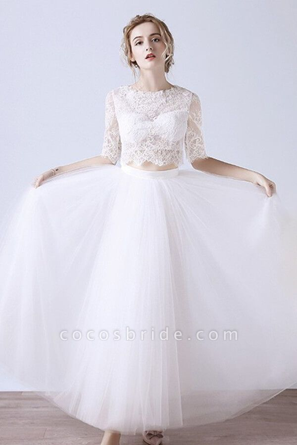 Affordable Lace Tulle Two Piece Wedding Dress