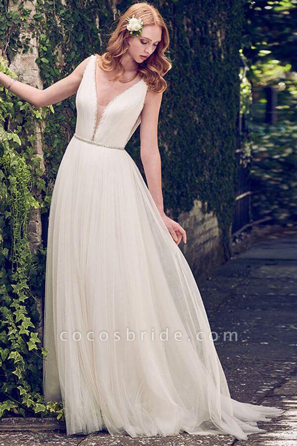 V-neck Court Train Tulle A-line Wedding Dress