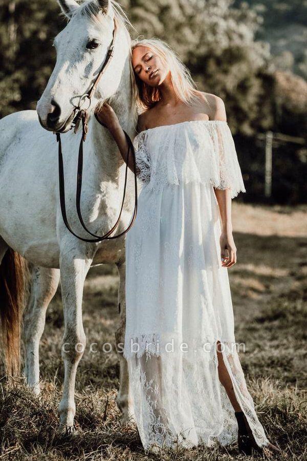 Off-the-shoulder Lace Floor Length Wedding Dress