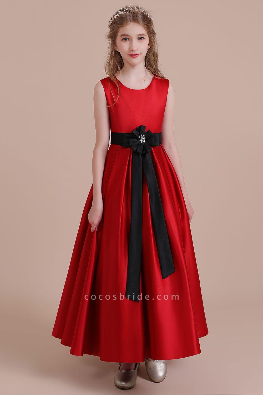 Elegant Satin A-line Flower Girl Dress