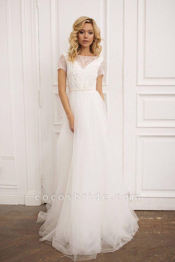 Short Sleeve Lace A-line Chiffon Wedding Dress