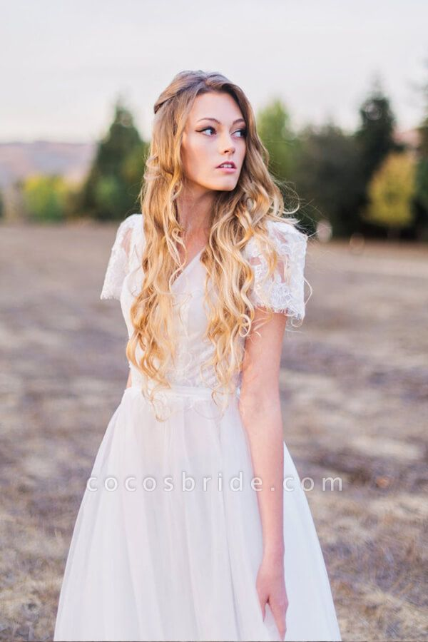 V-neck Short Sleeve Lace A-line Wedding Dress