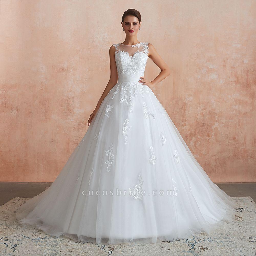 Amazing Illusion Appliques Tulle Wedding Dress