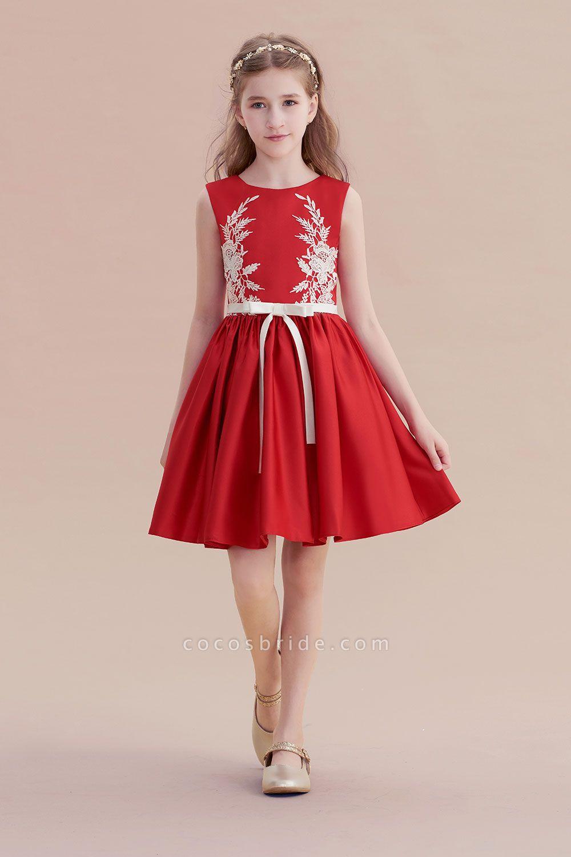Affordable Appliques Satin A-line Flower Girl Dress