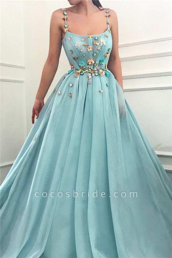 Modest Spaghetti Straps Tulle Ball Gown Prom Dress