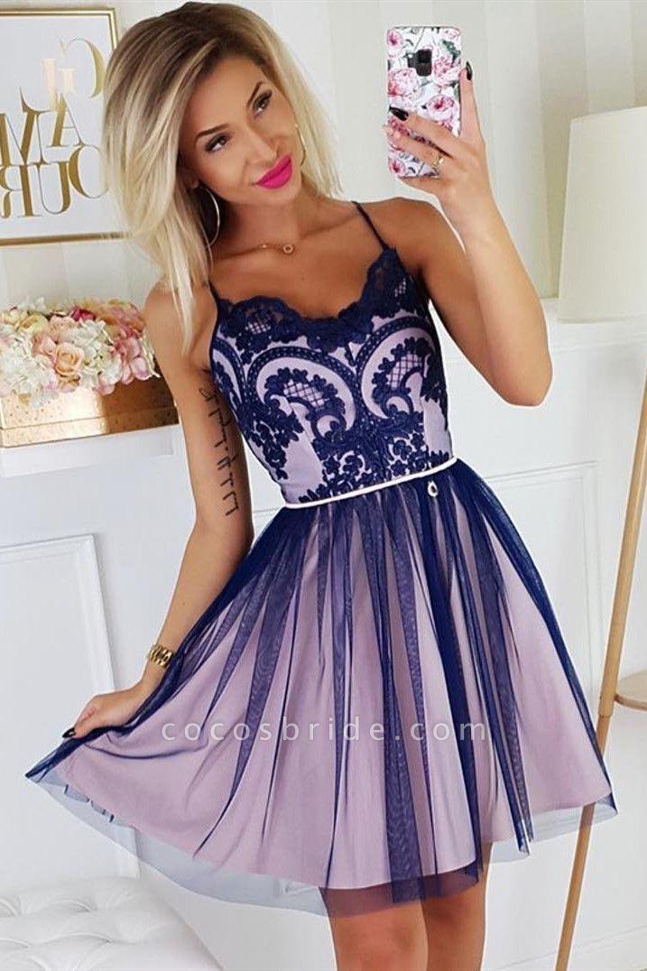 Chic Spaghetti Straps Lace Homecoming Dress