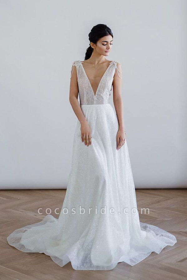 Beading V-neck Chapel Train A-line Wedding Dress