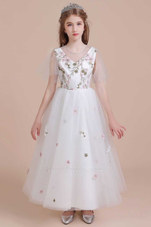 Short Sleeve Embroidered Tulle Flower Girl Dress
