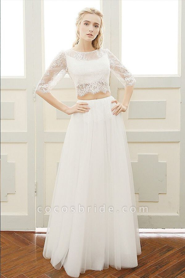 Graceful Sheer Lace Tulle Two Piece Wedding Dress