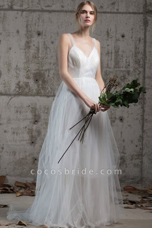 Affordable Ruffle Sequins Tulle Wedding Dress
