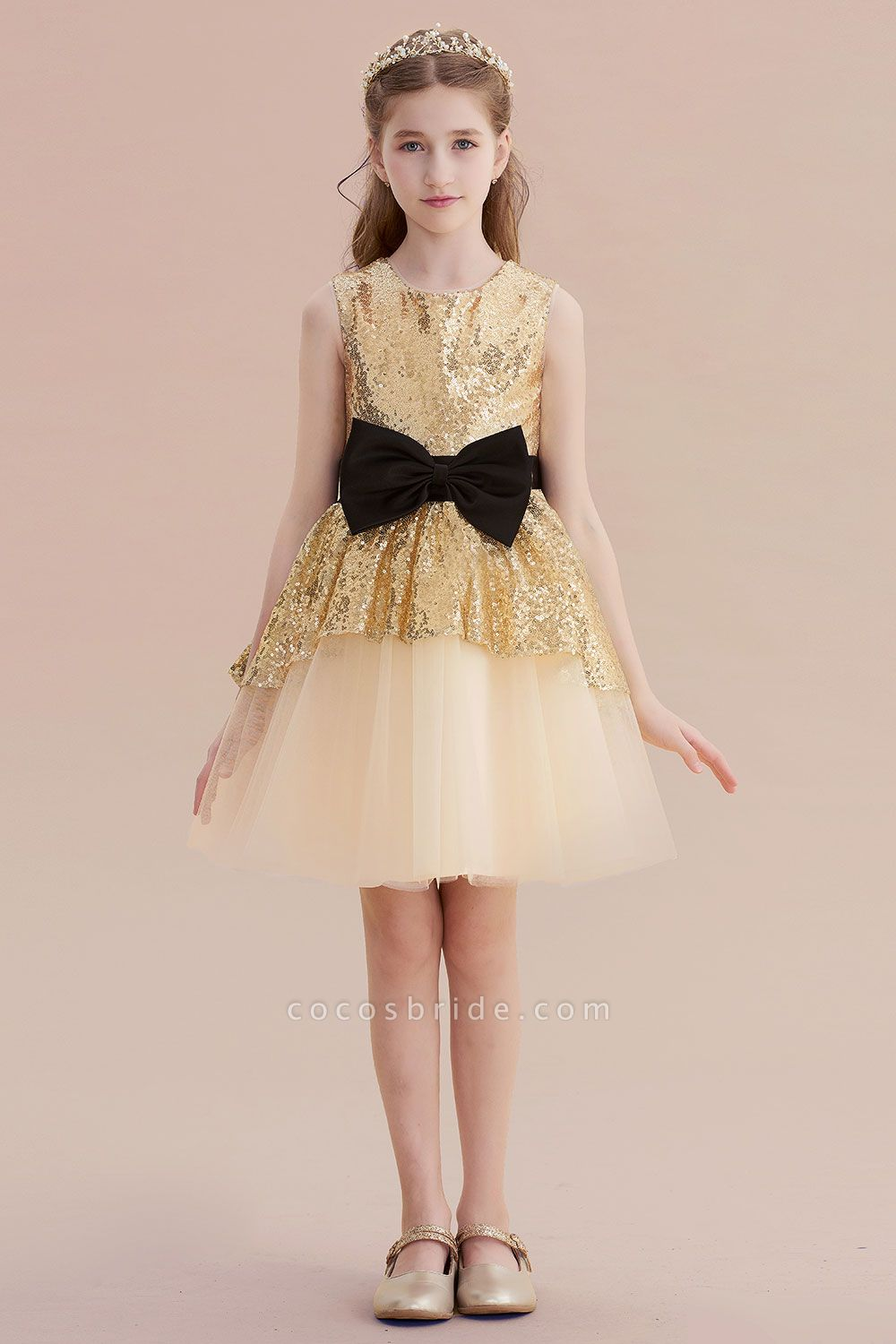 Tulle Sequins Bows Knee Length Flower Girl Dress