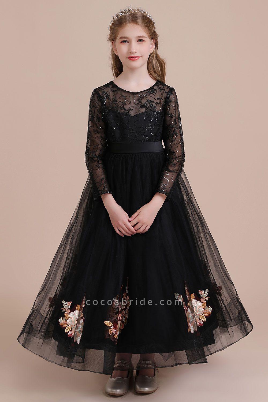 Embroidered Long Sleeve Tulle Flower Girl Dress