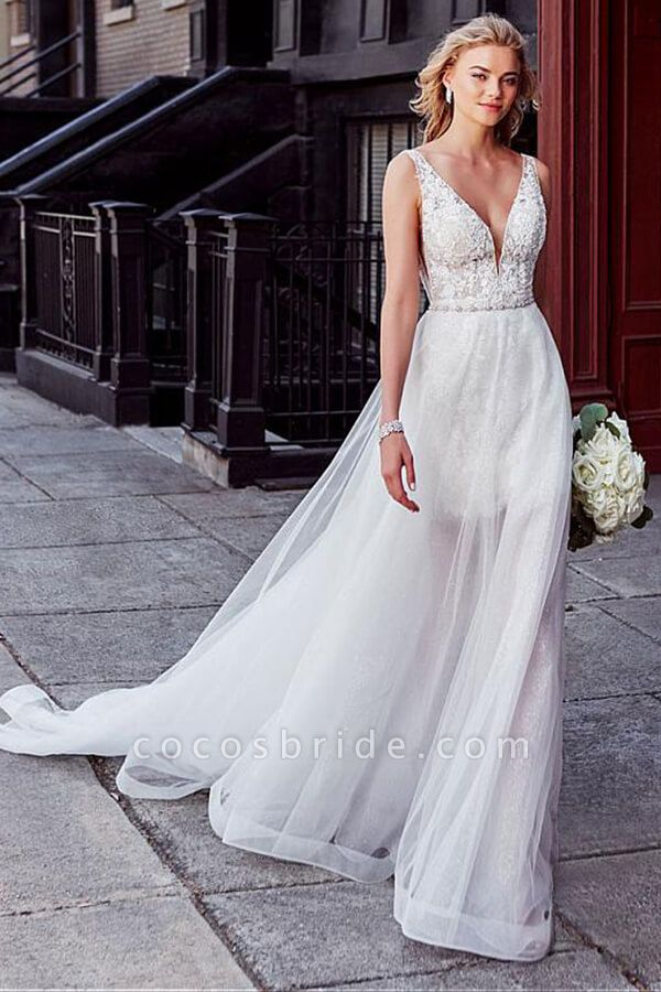 V-neck Lace Chapel Train Organza Wedding Dress