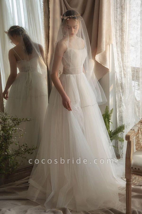Elegant Ruffle Spaghetti Strap Tulle Wedding Dress
