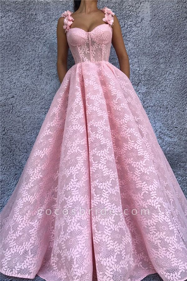 Chic Straps Lace Ball Gown Prom Dress