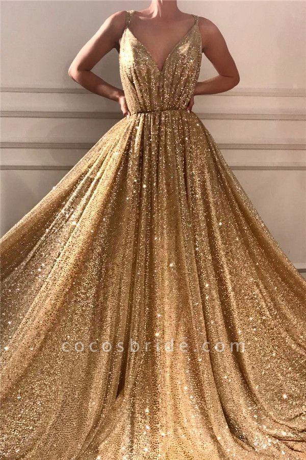 Glamorous Sequins Spaghetti Straps Long Prom Dress