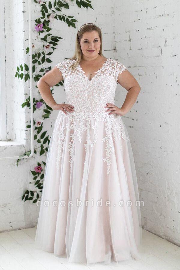 Plus Size Lace-up Short Sleeve A-line Wedding Dress
