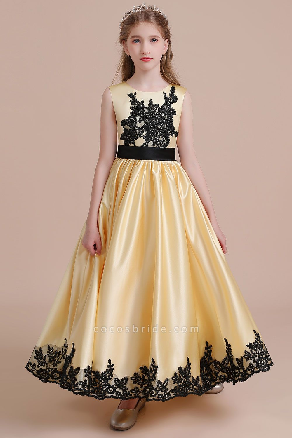 Chic Bow Appliques Satin A-line Flower Girl Dress