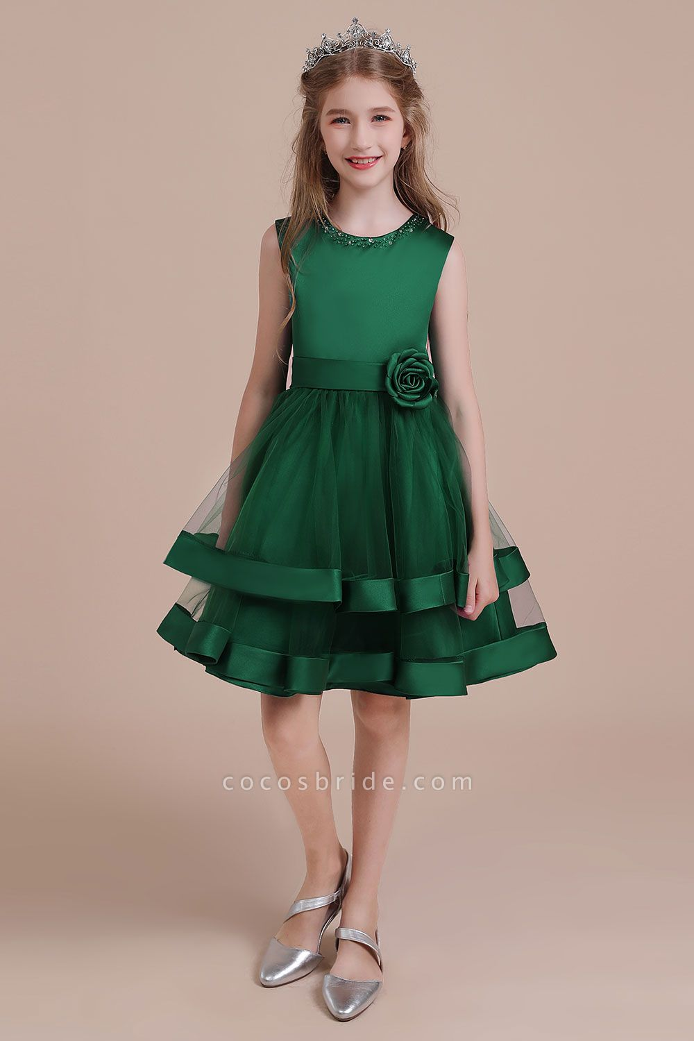 Bow A-line Satin Layered Tulle Flower Girl Dress
