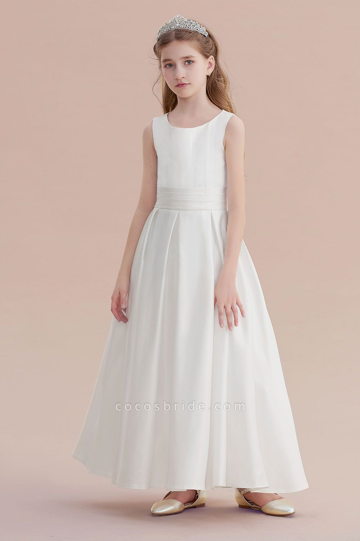 Simple A-line Satin Flower Girl Dress