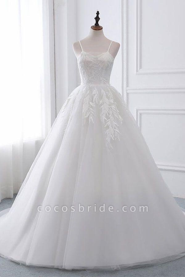 Spaghetti Strap Tulle Ball Gown Wedding Dress