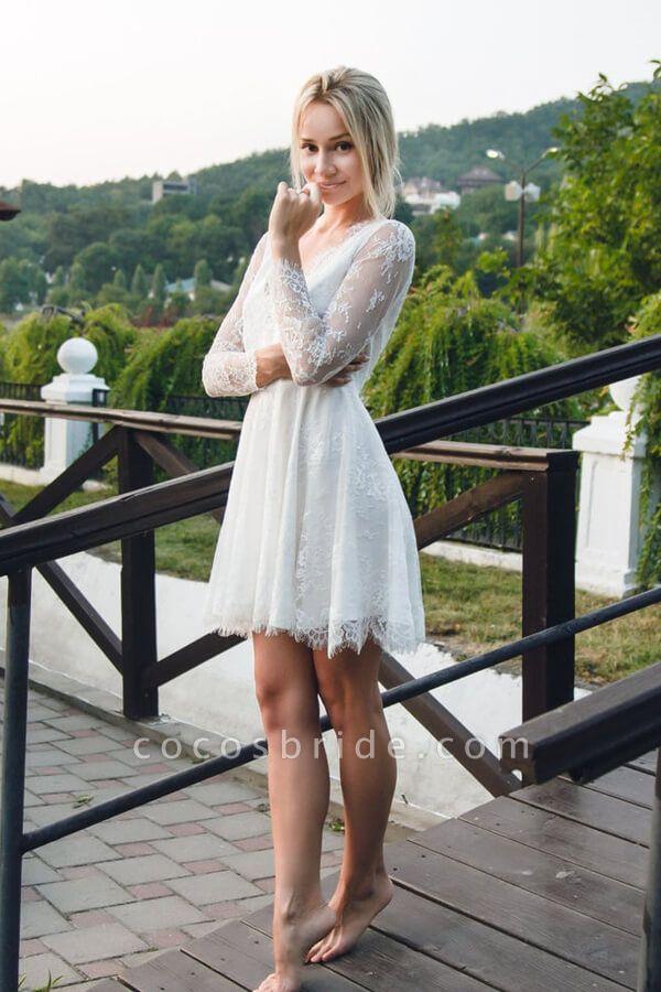 V-neck Long Sleeve A-line Lace Short Wedding Dress