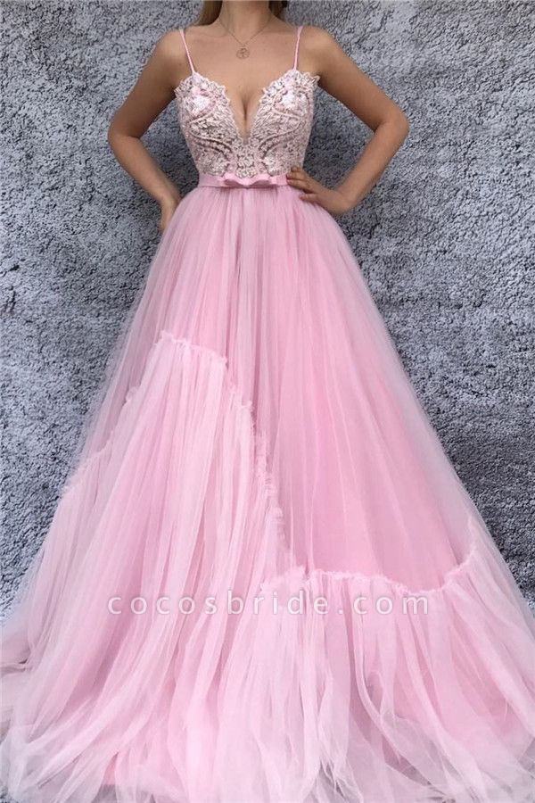 Fascinating Spaghetti Straps Tulle A-line Prom Dress