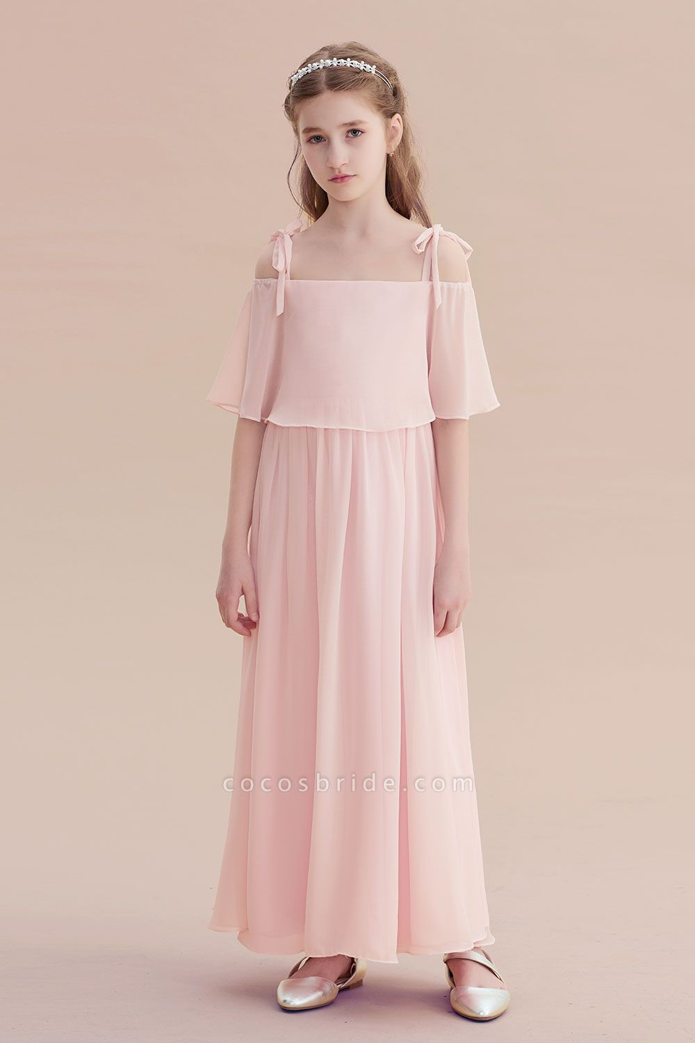 Cold-shoulder A-line Chiffon Flower Girl Dress