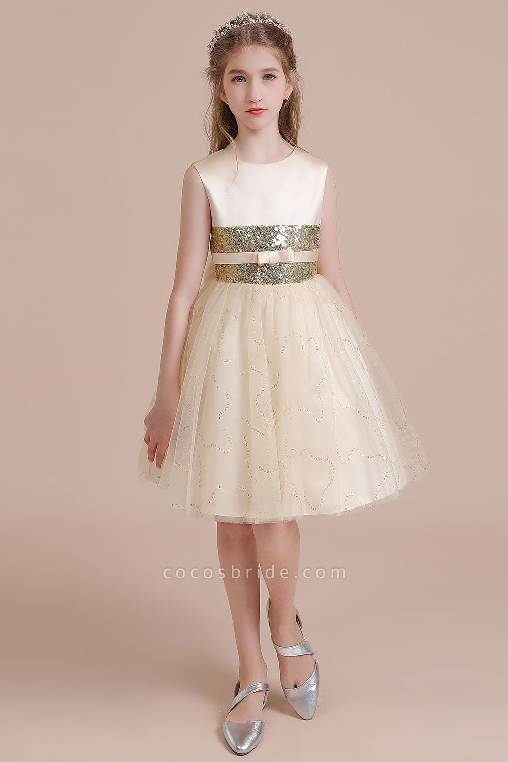 Cute Sequins Tulle A-line Flower Girl Dress