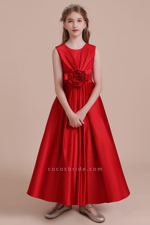 Chic Satin A-line Ankle Length Flower Girl Dress