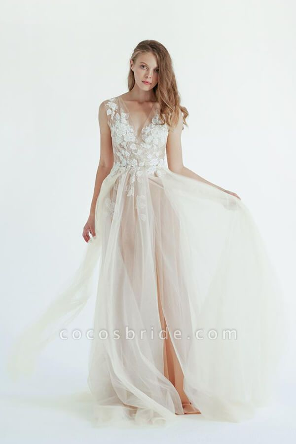 Latest V-neck Tulle A-line Wedding Dress